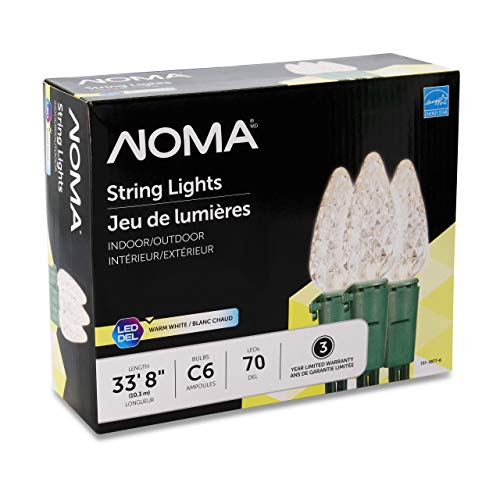 NOMA LED Christmas Lights | 70-Count C6 Classic Clear White Bulbs | 23 8 String Light | UL Certified | Outdoor & Indoor