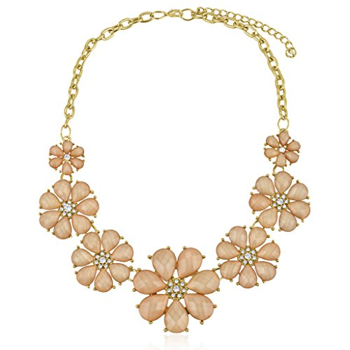 h Floral Flower Pave Crystal Statement Necklace (Pave And Crystal Necklace)