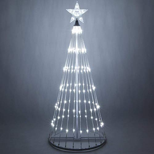 Wintergreen Lighting 14-Function LED Light Show Cone Christmas Tree, Outdoor Christmas Decorations (6', Cool White) (Animated Lighting Christmas)