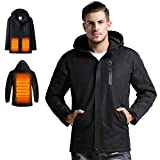 Venustas Men's Heated Jacket with Hood Waterproof Wind Resistant(Power Bank NOT Included) Black