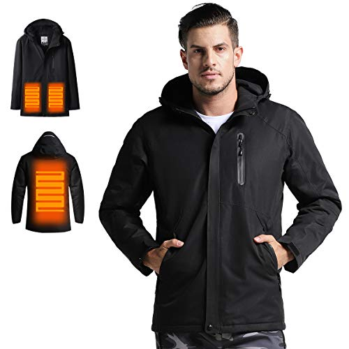 Venustas Men's Heated Jacket with Hood Waterproof Wind Resistant(Power Bank NOT Included) Black
