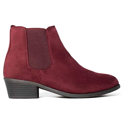 FASHION Low Ankle Chelsea Burgundy Heel Side Su Boots Elastic OF On ROOM Slip Stacked RF Comfortable Women's wRnXOw4Eq