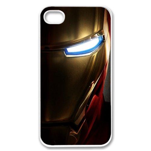 Apple iPhone 4 4G 4S Cyborg Iron Man Avengers Design WHITE Sides Slim HARD Case Skin Cover Protector Accessory Vintage Retro Unique AT&T Sprint Verizon Virgin Mobile