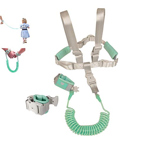 (2 in 1 Baby Leash Toddler Anti Lost Wrist Link and Vest Harness with Child Lock (Mint Green, 6.5ft Length) )
