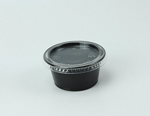 Disposable 2oz Black Plastic Condiment Cups with Lids 100-Pack, Sample Cup, Jello Shot Cups, Salad Dressing, Souffle Portion, Sampling EASYWARE