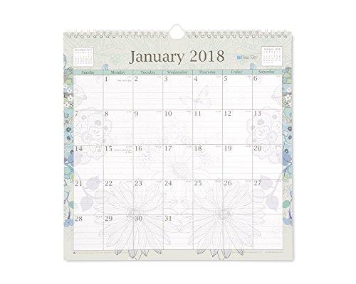 Blue Sky 2018 Wall Calendar, Twin-Wire Binding, 12' x 12', Lianne Aqua