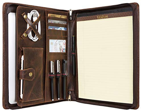Handmade Vintage Leather Padfolio Portfolio Case Zippered Business Organizer Tablet Folio Folder with Letter Size Notepad, for Right- or Left-Handed Business Men/Women (Oil Waxed Leather, Non-Custom)