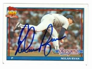 - Nolan Ryan autographed baseball card (Texas Rangers) 1991 Topps #1