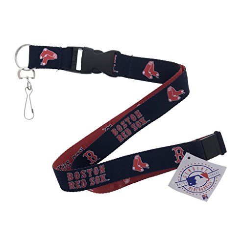 (Baseball Sports Lanyard, 2 Tone, Woven Polyester, with Clip (Red Sox))
