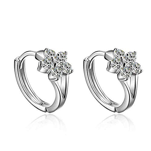 Crystal Tiny Small Hoop Earrings Sterling Silver Cartilage Sleeper Round Huggies Hoops 10mm for Women Girls ()