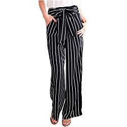 Geckatte Womens Striped Palazzo Belted High Waisted Elegant Work Flowy Wide Leg Pants