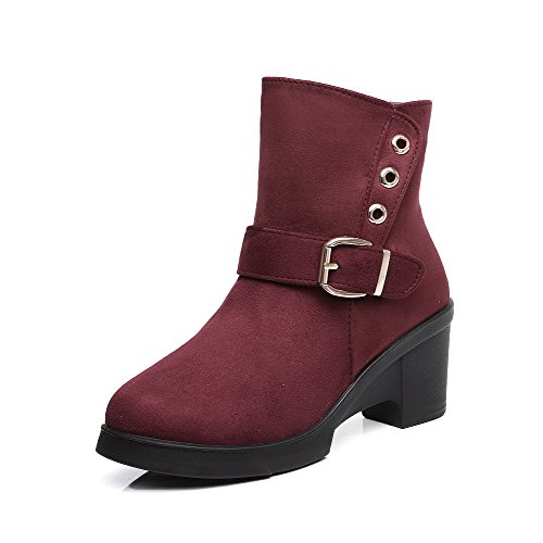 Claret Women's AgooLar Blend Boots High Heels Materials Closed Toe buckle H6pBqw6x