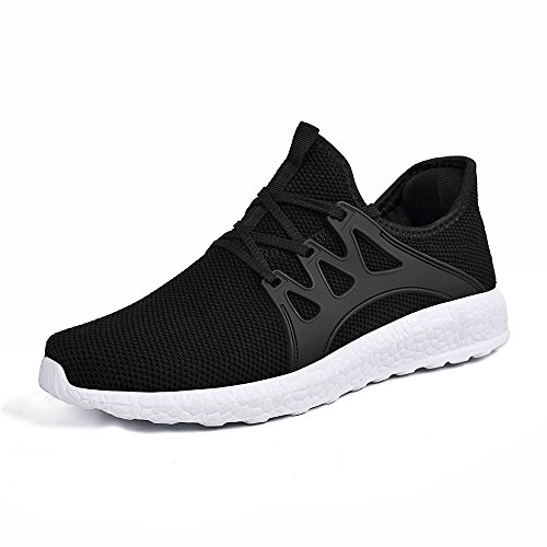 KIKOSOCKS Womens Sneakers Casual Sports Shoes Ultra Lightweight Breathable Running Shoes Indoor Gym Shoes Black/White (Best Indoor Gym Shoes)