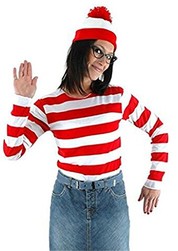 Where Wally Costumes (Qichuhua Women Smart Waugh Where's Wally British Anime Characters Cosplay Costume)