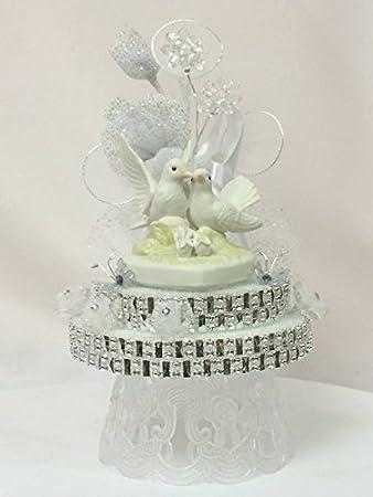 Amazon.com: Kissing Doves Wedding Cake Topper Centerpiece ...