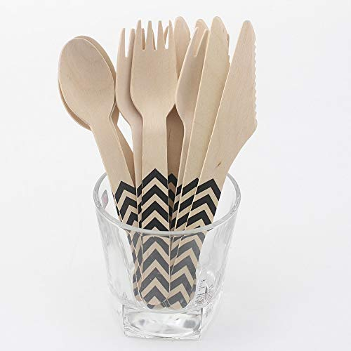 | Forks | 144pcs Wooden Cutlery Set Chevron Disposable Biodegradable Natural Birchwood Dessert Knife and Frok&Spoon for Birthday Party | by NAHASU (Best Price Electric Carving Knife)