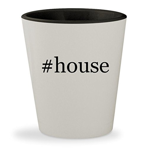 #house - Hashtag White Outer & Black Inner Ceramic 1.5oz Shot Glass