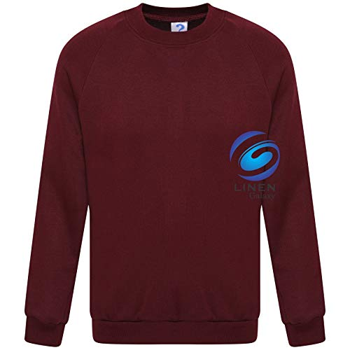 Wine, 13-14 Years Lyallpur Kids Children Unisex School Uniform Plain Fleece Sweat Jumper Pullover