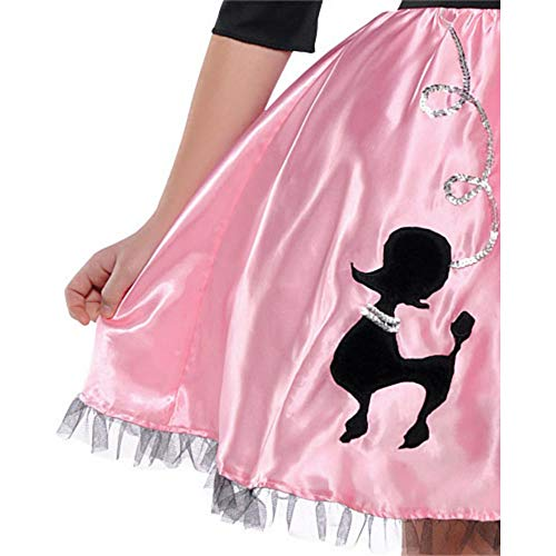 40/'s Party Miss Sock Hop Pink and Black Girls Costume