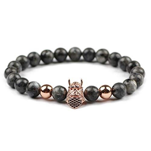 LTH12 Charm Bracelets - Inlay Zircon Helmet Men Charm Bracelets&Bangle 8mm Black Labradorite Spectrolite Natural Stone Beads for Fashion Jewelry 1 PCs