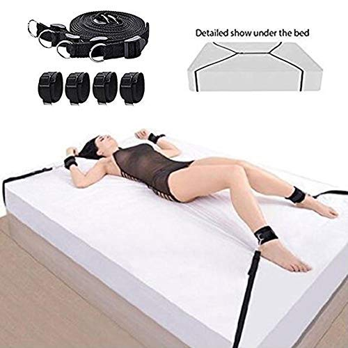 Adjustable Strap Set Kit for Under Bed with Soft Ankle and Wrist Handcuffs for Women and Men Restraint ()