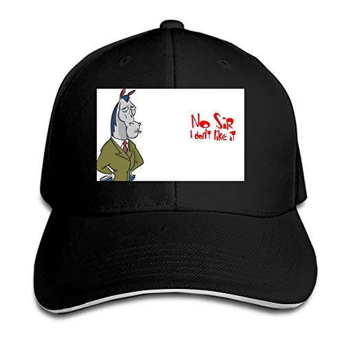 Peaked hat Ren and Stimpy No Sir I Don T Like It Printed Sandwich Baseball Cap for Unisex Adjustable Hat
