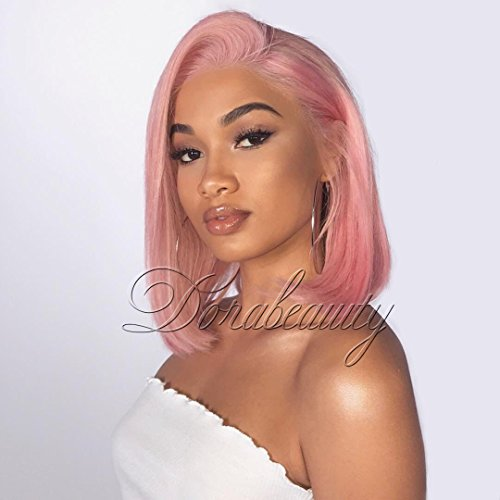 Dorabeauty Pink Short Bob Wigs Natural Straight Wigs for Black Women 130% Density Pre-plucked Lace Front Wigs Human Hair with Natural Hairline (12, Pink) -
