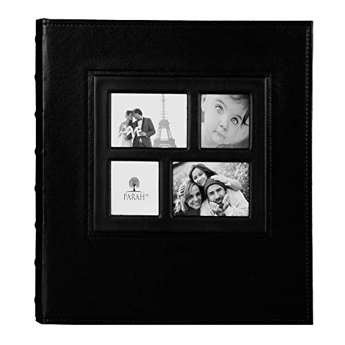PARAH LIFE Premium 500 Photo Family Wedding Anniversary Baby Vacation Album Sewn Bonded Leather Book Bound Multi Directional 500 4x6 Photos 5 Per Page Large Capacity Deluxe Customizable Black (Multi Logo Collage)