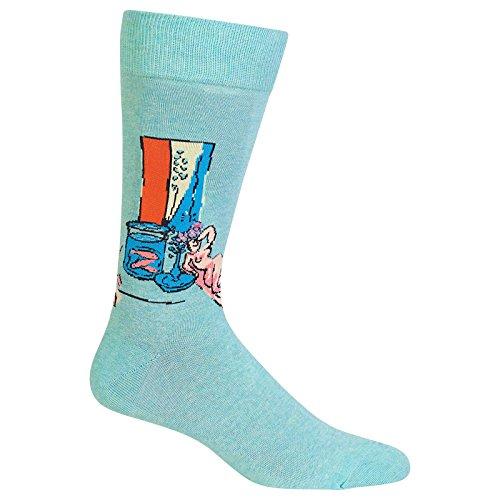 (Hot Sox Men's Artist Series Crew Socks, Goldfish and Sculpture (Teal), Shoe Size:6-12/Sock Size: 10-13)