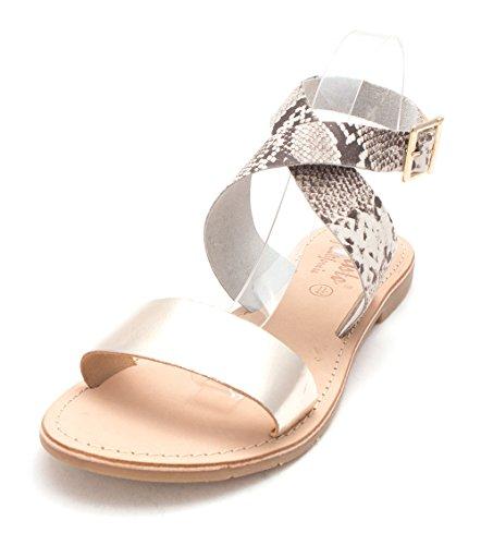 Callisto Womens Babita Leather Open Toe Casual Slingback Sandals Gold Gold Snake yA0Lx