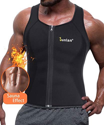 Junlan Men Sweat Waist Trainer Tank Top Vest for Weight Loss Neoprene Workout Shirt Sauna Body Shaper Fitness Gym Corset Zipper (L, Black Sauna Tank Top)