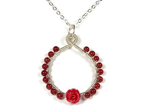 Handmade Carved Rose Red Coral Necklace in 925 Sterling Silver