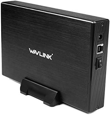 WAVLINK USB 3.0 Externes Festplattengehäuse für 3,5 Zoll SATA I/II/III SSD und HDD Festplatten Unterstützung UASP&12TB Laufwerke(Enthält Keine Festplatte)