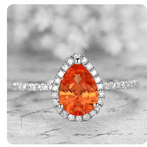 1.50 Ctw Pear Shaped Created Orange Sapphire & White Diamond 14k White Gold Over .925 Sterling Silver Engagement Ring for Women's