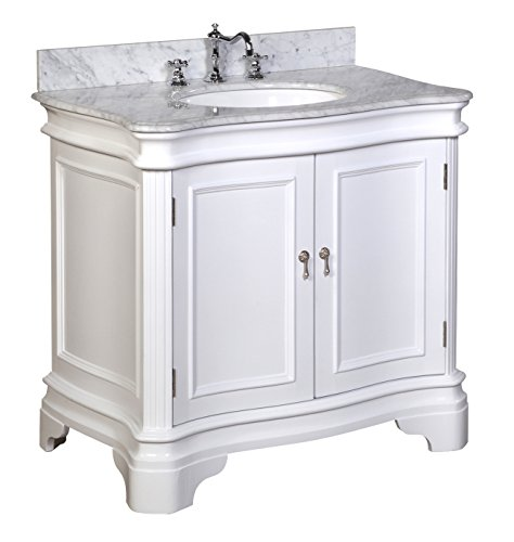 Kitchen Bath Collection KBC-A36WTCARR Katherine Bathroom Vanity with Marble Countertop, Cabinet with Soft Close Function and Undermount Ceramic Sink, Carrara/White, 36