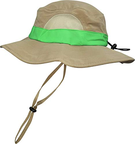 Eagle Eye Explorer Kids Safari Floppy Bucket Sun Hat Backyard Outdoor Adventure for Boys/Girls. Sure Fit Adjustable Head Band, Wide Brim, Hat Band, Chin Strap & Large Mesh Ventilation Panels. Tan M/L