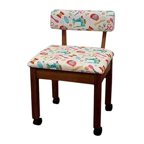 Arrow Wooden Scalloped Base Sewing Chair with Riley Blake Upholstery (Oak/White) ()