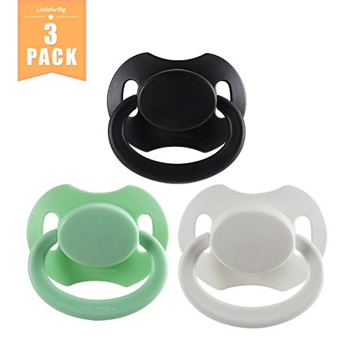 - Littleforbig Bigshield Gen-2 Adult Sized Pacifier Dummy Bigshield 3 Paci Pack - Black,White,Green