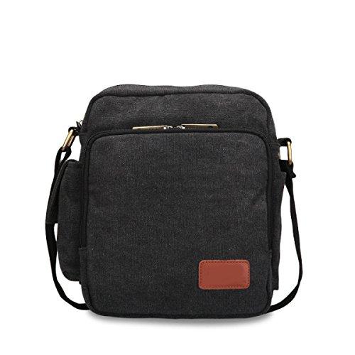 Moda Retro Multi-funzionale Il Tempo Libero Della Tela Messenger Bag Spalla Green Light,Black-OneSize