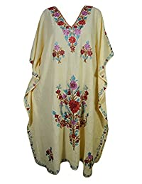 Mogul Womens Yellow Kaftan Floral Embroidery Kashmiri Cover Up Designer Caftan