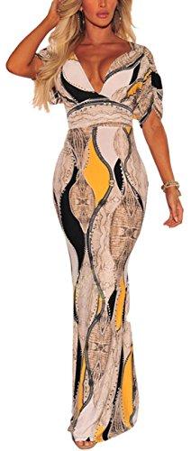 (sexycherry Women Deep V-Neck Elegant Short Ruffles Sleeves Sexy Flower Floral Cocktail Maxi Party Dress Beige)