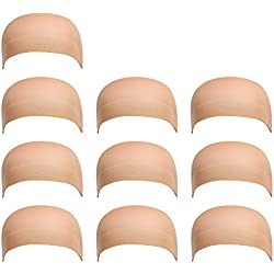 10 Pack Dreamlover Nylon Beige Wig Caps, Flesh Color Stretchy Close End Stocking Wig Caps, Each Paper Board Contains 2 Wig Caps (Beige)