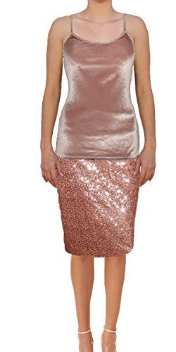 Ooh la la Womens Fully Lined Sequin Pencil Skirt With Soft Stretch Waistband (Large, Rose (Fully Lined Velvet Skirt)