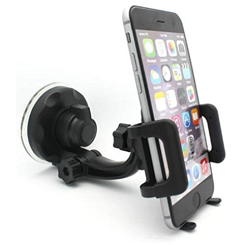 (Galaxy On5 Compatible Car Mount Windshield Phone Holder Swivel Cradle Window Rotating Dock Suction Black for Samsung Galaxy On5)