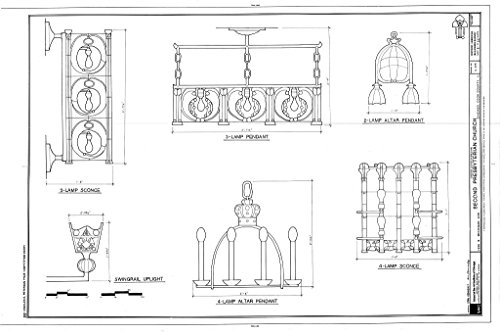 Historic Pictoric Blueprint Diagram Lamp Pendants, Sconces, and Swingrail Uplight - Second Presbyterian Church, 1936 South Michigan Avenue, Chicago, Cook County, IL 12in x 08in ()