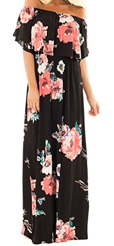 Gobought Womens Floral Striped Ruffle Off Shoulder Boho Maxi Dress with Short Sleeves