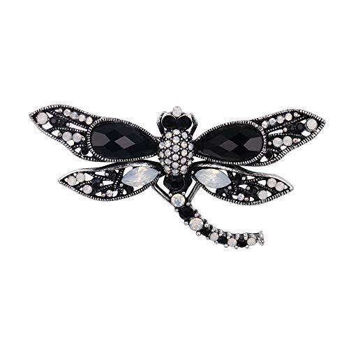 BriLove Crystal Dragonfly Brooch Pin Black/Opal Color Antique Silver-Tone