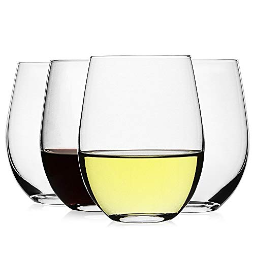 LUXU Stemless Wine Glasses(Set of 4)-20 oz,Clear Wine Cups for Red or White Wine,Crystal Whiskey Tumblers,Large Water…