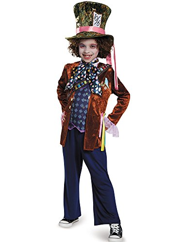 [Mad Hatter Deluxe Alice Through The Looking Glass Movie Disney Costume, Medium/7-8] (Kids Alice Costumes)