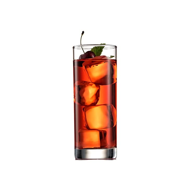 Paksh Novelty Italian Highball Glasses [Set of 6] Clear Heavy Base Tall Bar Glass – Drinking Glasses for Water, Juice, Beer, Wine, Whiskey, and Cocktails | 13 Ounce Cups